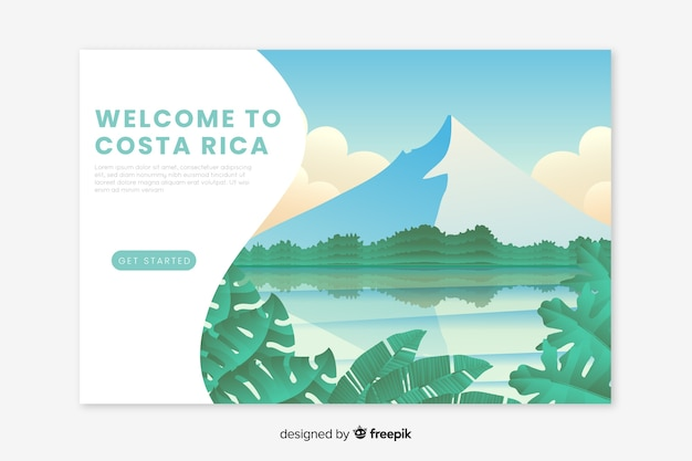 Welcome to costa rica landing page Free Vector