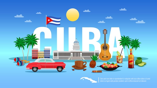 Benvenuto all'illustrazione di cuba con l'illustrazione piana di vettore degli elementi di festa e della località di soggiorno Vettore gratuito