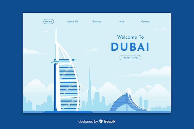 Welcome to dubai landing page template Free Vector
