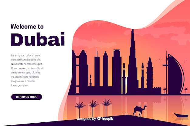Welcome to dubai landing page with illustrations Free Vector
