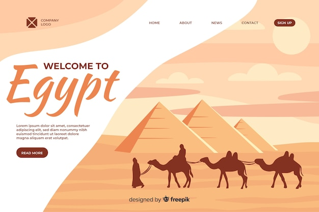 Welcome to egypt landing page template Free Vector