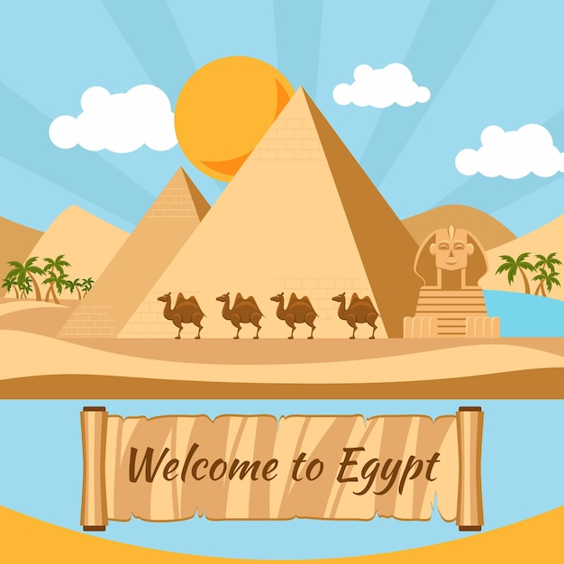 Welcome to egypt, pyramids and sphinx. vacation and monument, sand and statue, camel and exotic Free Vector