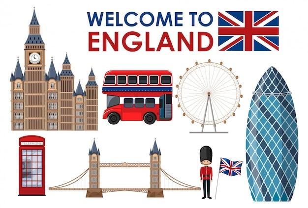 Welcome to england landmarks Premium Vector