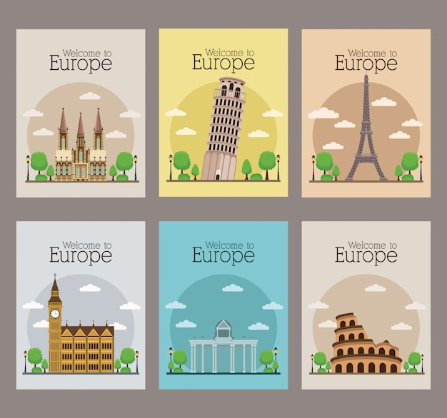 Welcome to europe set of travel posters Premium Vector