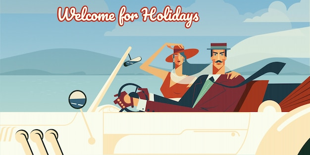 welcome for holidays retro illustration of man and woman driving in vintage cabriolet car free