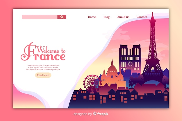Welcome to france landing page template Free Vector