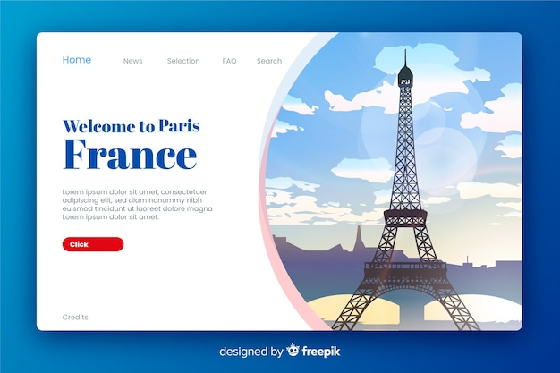Welcome to france landing page Free Vector
