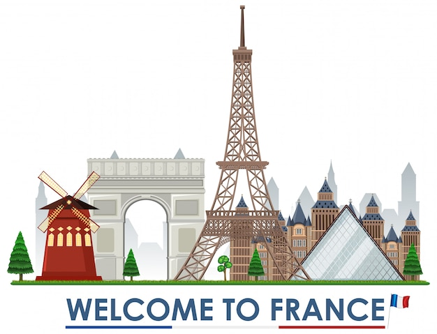 Welcome to france landmarks Premium Vector
