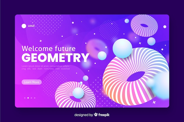 Welcome future 3d geometric landing page Free Vector