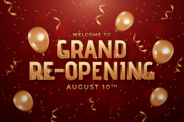 Welcome to grand re-opening background Free Vector