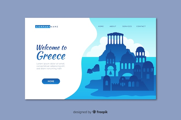 Welcome to greece landing page template Free Vector