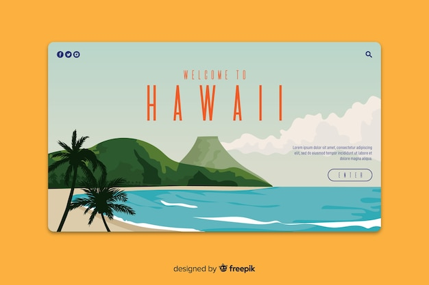 Welcome to hawaii landing page Free Vector