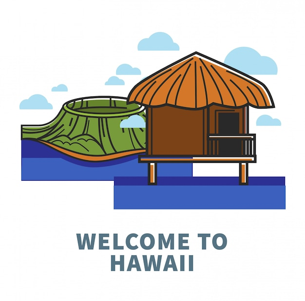 Welcome to hawaii promo poster with nature and bungalow Premium Vector