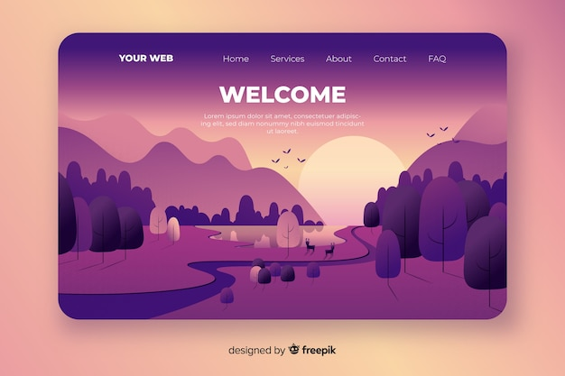 Welcome homepage with gradient landscape Free Vector