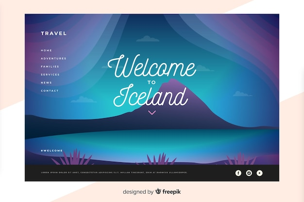 Welcome to iceland landing page template Free Vector