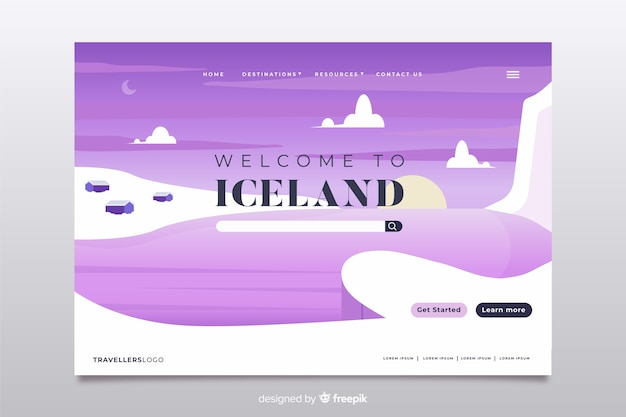 Welcome to iceland landing page Free Vector