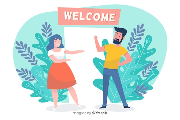 Welcome illustrated concept for landing page Free Vector