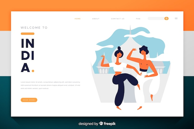 Welcome to india landing page flat design Free Vector