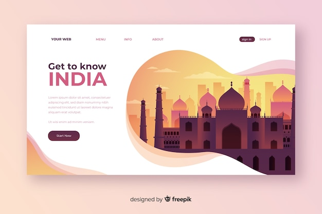 Welcome to india landing page Free Vector