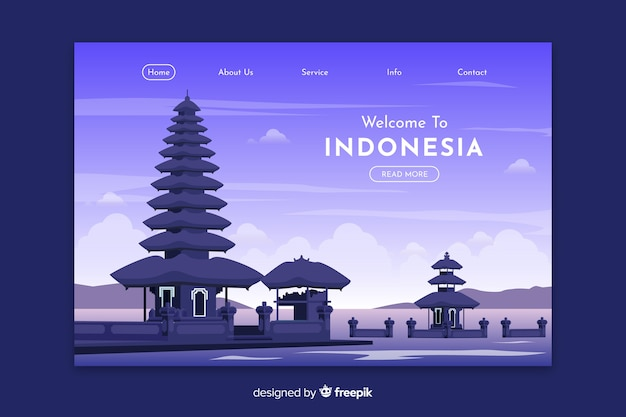 Welcome to indonesia landing page template Free Vector