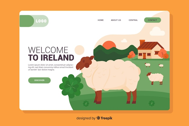 Welcome to ireland landing page Free Vector