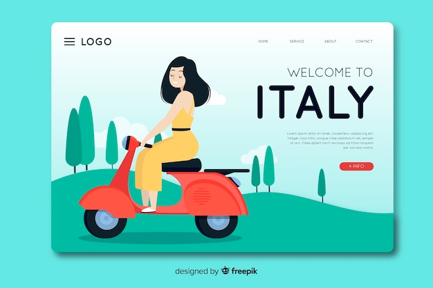 Welcome to italy landing page template flat design Free Vector