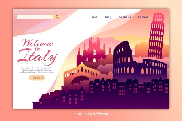 Welcome to italy landing page template Free Vector