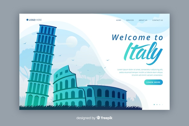 Welcome to italy landing page Free Vector