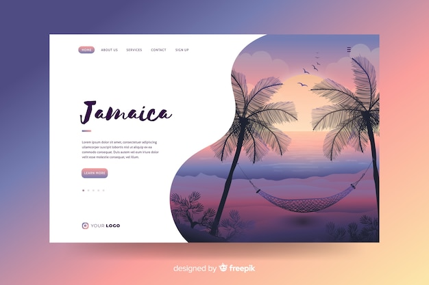 Welcome to jamaica landing page Free Vector