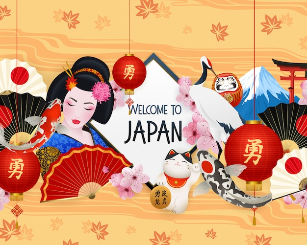 Welcome to japan illustration with different elements Free Vector