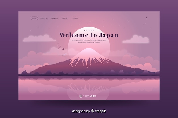 Welcome to japan landing page design Free Vector