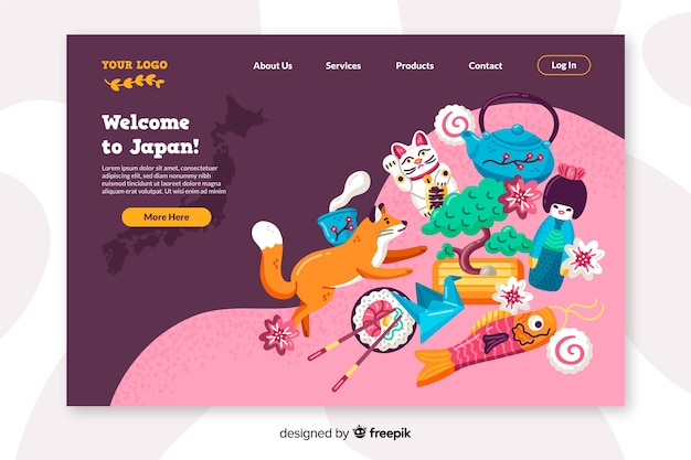 Welcome to japan landing page flat design Free Vector