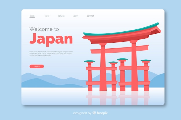 Welcome to japan landing page template flat design Free Vector