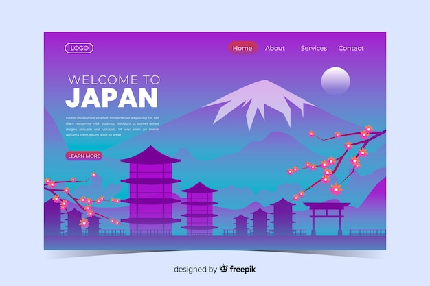 Welcome to japan landing page template with landscape Free Vector