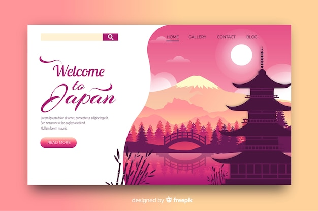 Welcome to japan landing page template Free Vector