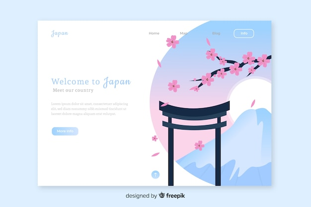 Welcome to japan landing page template Premium Vector