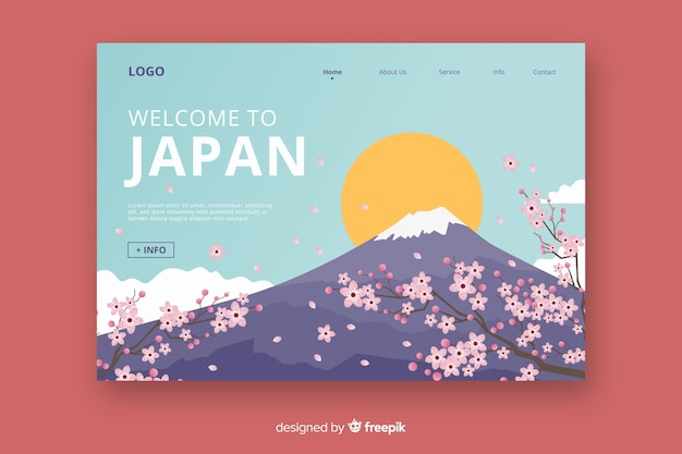Welcome to japan landing page Free Vector