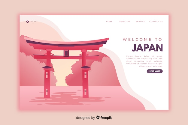 Welcome to japan pink landing page Free Vector