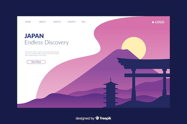 Welcome to japan purple landing page Free Vector