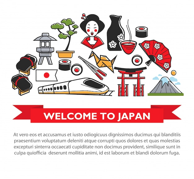 Welcome to japan travel poster of japanese culture famous sightseeing landmarks and attractions icons Premium Vector