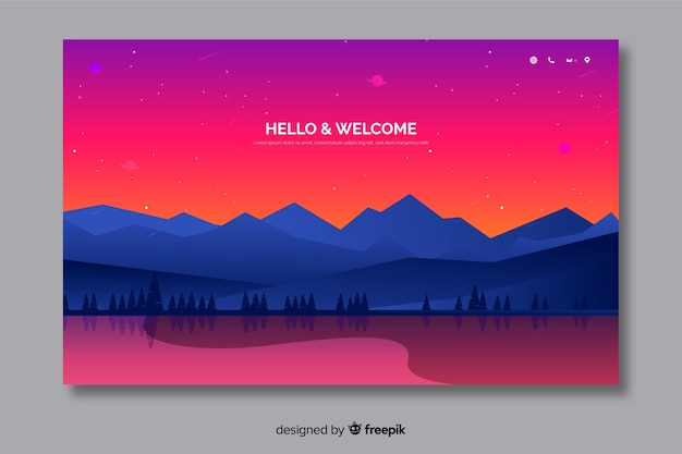 Welcome landing page template with landscape Free Vector