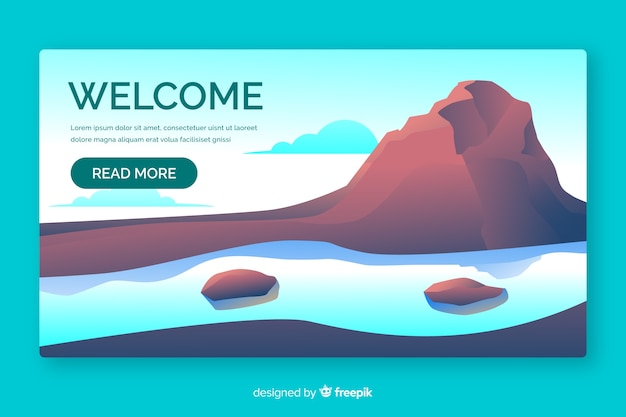 Welcome landing page with gradient landscape Free Vector