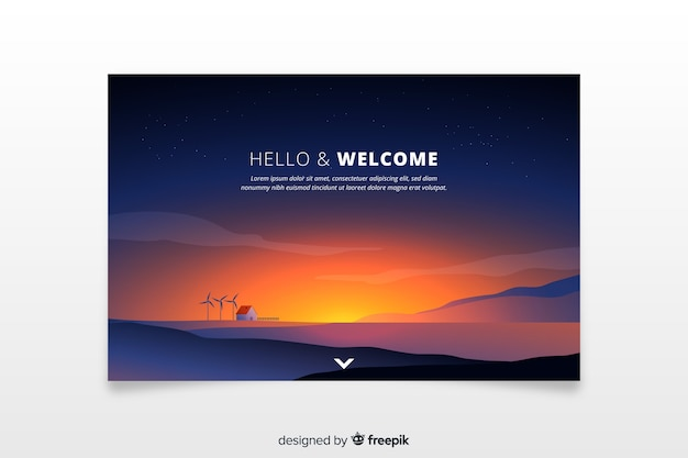 Welcome landing page with gradient sunset Free Vector