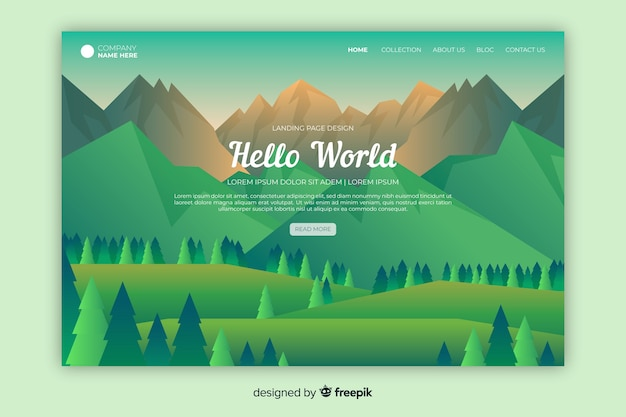 Welcome landing page with green gradient landscape Free Vector
