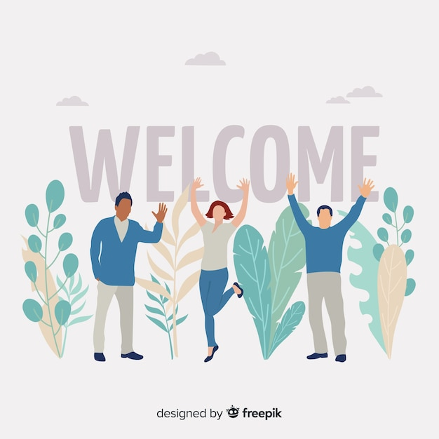 Welcome lettering with people cheering Free Vector