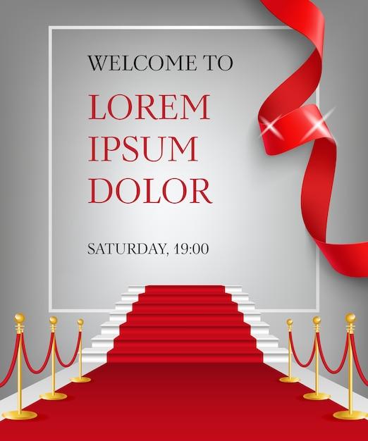 Benvenuti a lettering con ingresso tappeto rosso Vettore gratuito