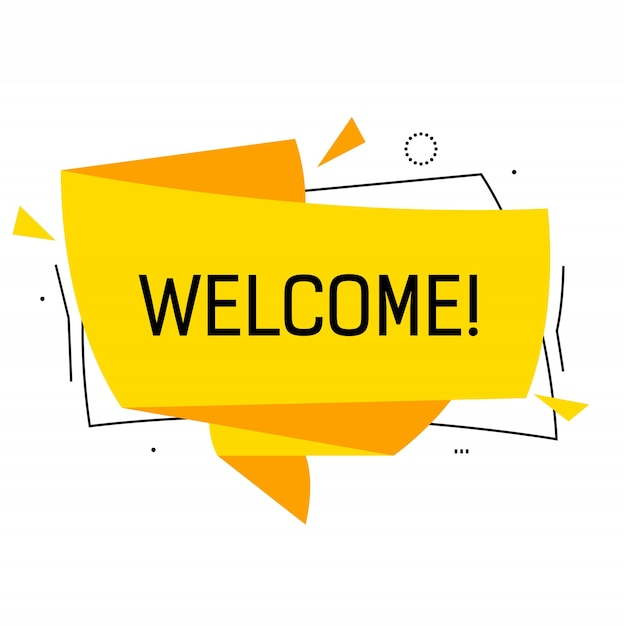 Welcome lettering in yellow origami speech bubble with triangles. Premium Vector