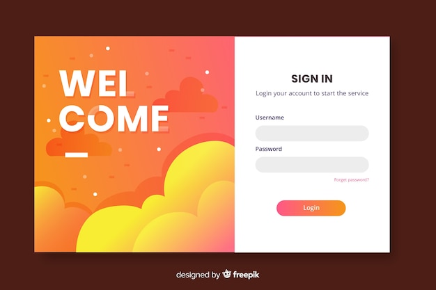 Welcome login landing page Free Vector