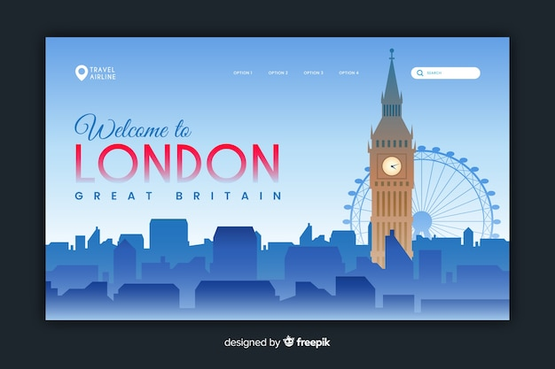 Welcome to london landing page template Free Vector