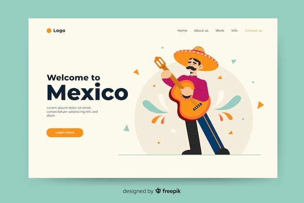 Welcome to mexico landing page with illustrations Free Vector